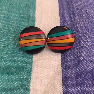 Vintage 1980s Colorful Chunky Earrings